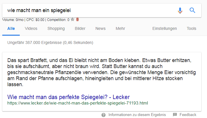 Was sind featured snippets
